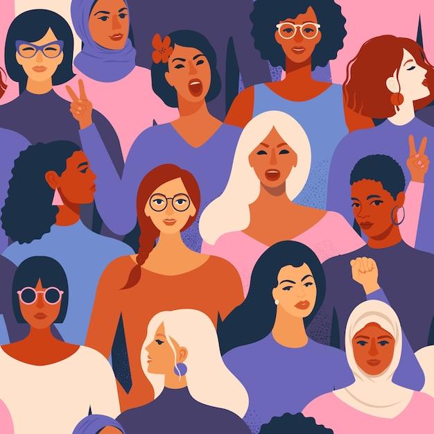 Caras diversas femeninas de diferentes mujeres de patrones sin fisuras. Vector Premium