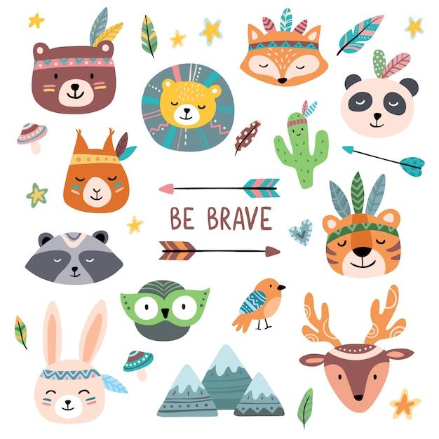 Caras graciosas de animales tribales. wild woodland zoo, animal lindo con tribales cara pintura conjunto de dibujos animados aislado Vector Premium