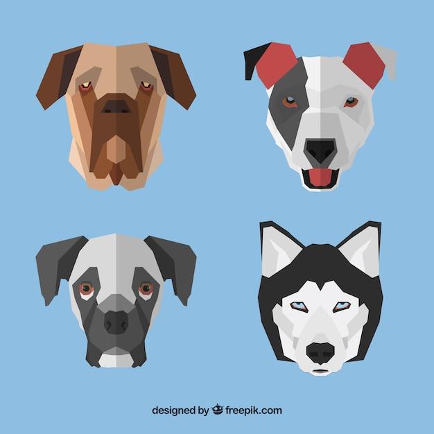 Caras De Perros Geométricas Descargar Vectores Gratis