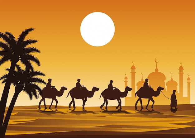 Caravana paseo musulmán camello a la mezquita Vector Premium