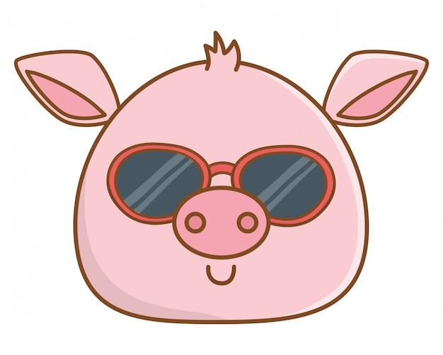Caricatura de cara de animal lindo vector gratuito
