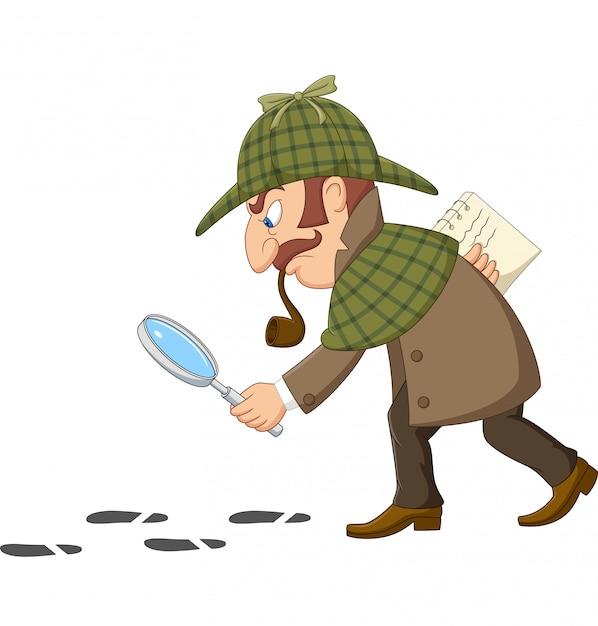 Caricatura de un detective que investiga las huellas Vector Premium