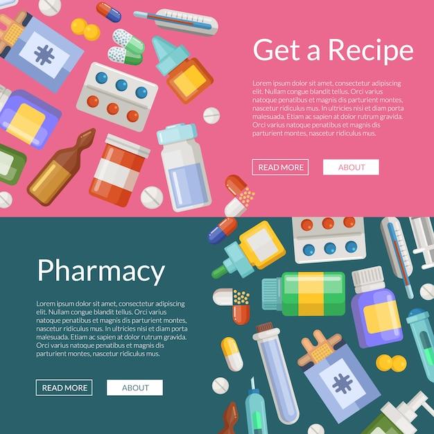 Caricatura farmacia o medicamentos banner horizontal cartel plantillas Vector Premium