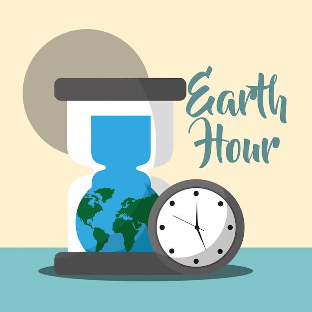 Caricatura de la hora del planeta Vector Premium