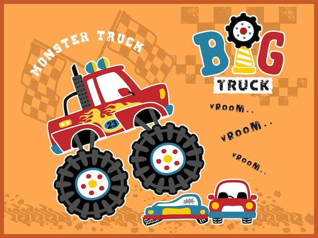 Caricatura de monster truck en acción Vector Premium