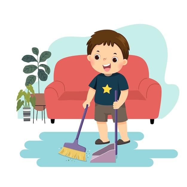 Caricatura de un niño barriendo el suelo. niños haciendo tareas domésticas en concepto de hogar. Vector Premium