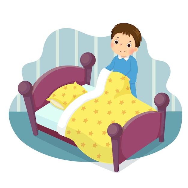 Caricatura de un niño haciendo la cama. niños haciendo tareas domésticas en concepto de hogar. Vector Premium