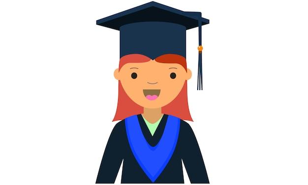 11452e450 Caricatura de personaje femenino joven graduado. Vector Premium