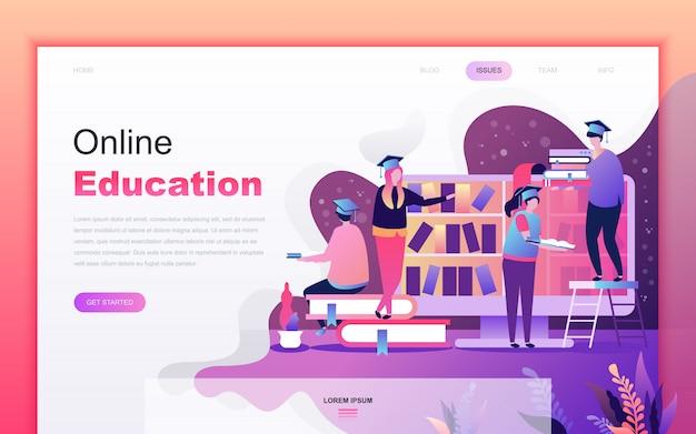 Caricatura plana moderna de la educación en línea Vector Premium