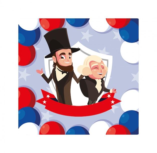 Caricatura de los presidentes george washington y abraham lincoln, día del presidente Vector Premium