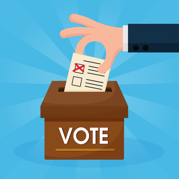 Las caricaturas de manos que están votando se ponen en la caja marrón. Vector Premium