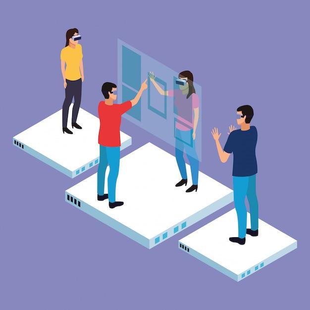 Caricaturas de realidad virtual y amigos. vector gratuito