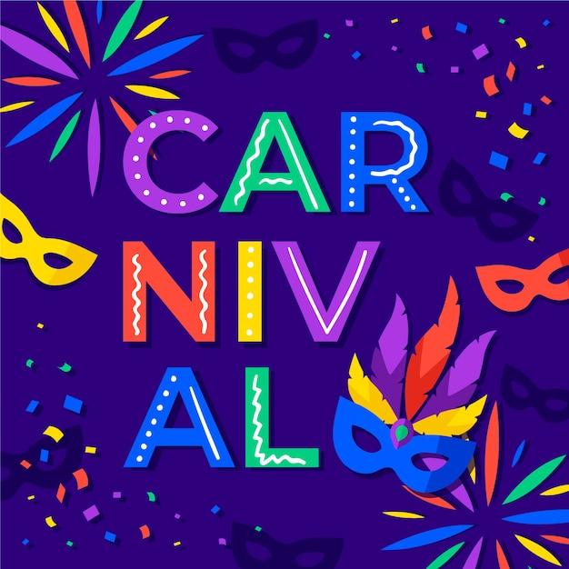 Carnaval con máscaras y confeti en diseño plano. vector gratuito