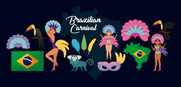 Carnaval rio janeiro conjunto de personajes y animales. Vector Premium