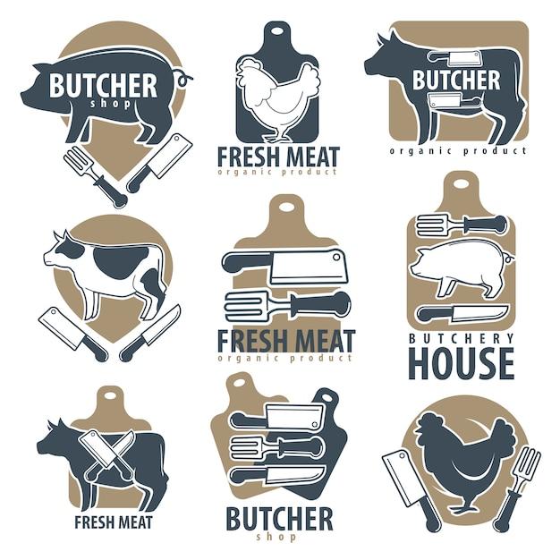 Carnicería o carnicería carnes iconos conjunto de vectores Vector Premium