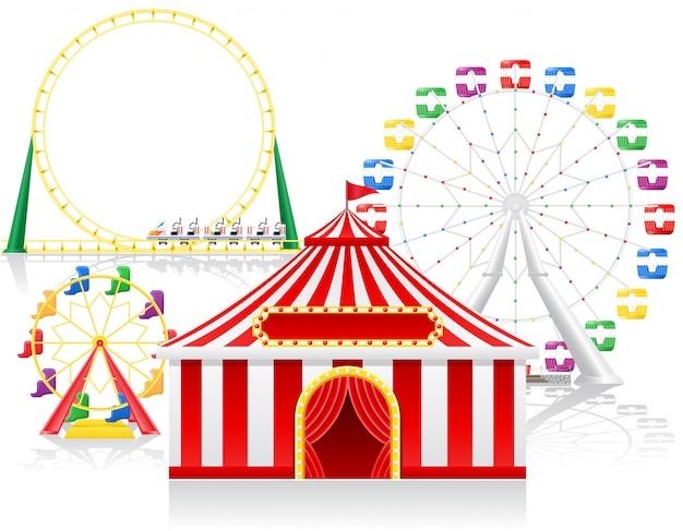 Carpa de circo y atracciones. Vector Premium