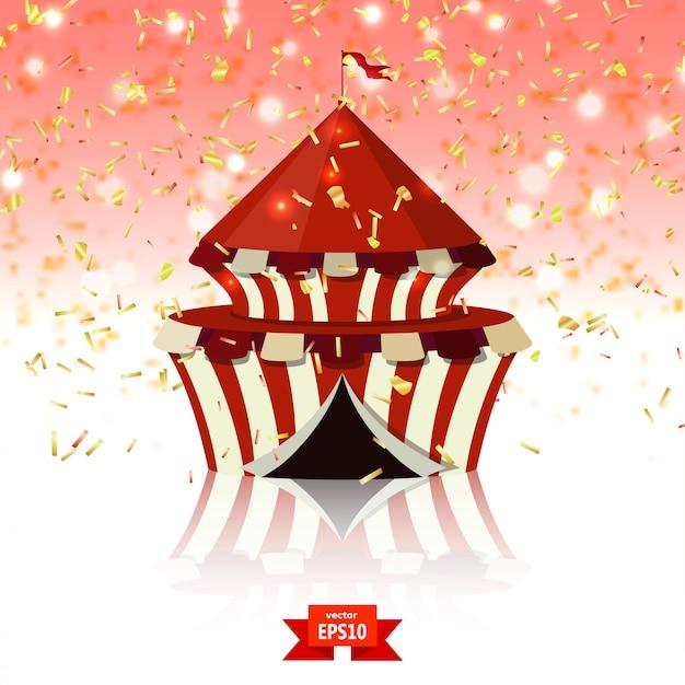 Carpa de circo de confeti sobre fondo de cristal rojo. Vector Premium