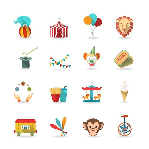 Carpa de circo con mono y león y payaso varita mágica triks iconos conjunto plana aislada vector gratuito
