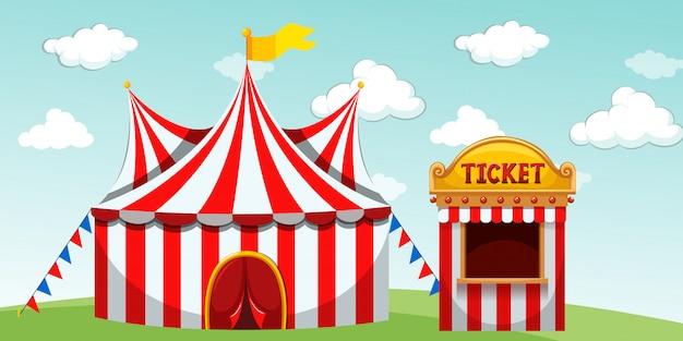 Carpa de circo y taquilla. vector gratuito