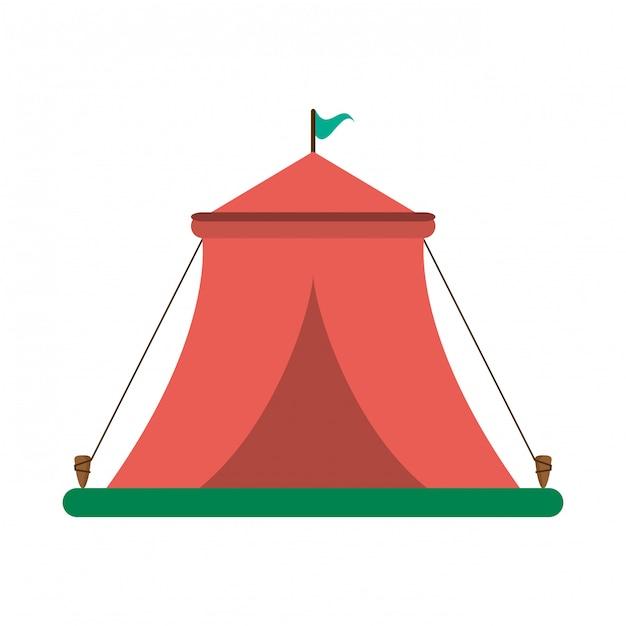 Carpa festival de circo con bandera. Vector Premium