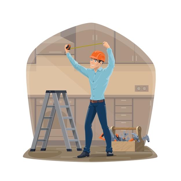 Carpintero o personal de mantenimiento con herramientas de reparación de la casa Vector Premium