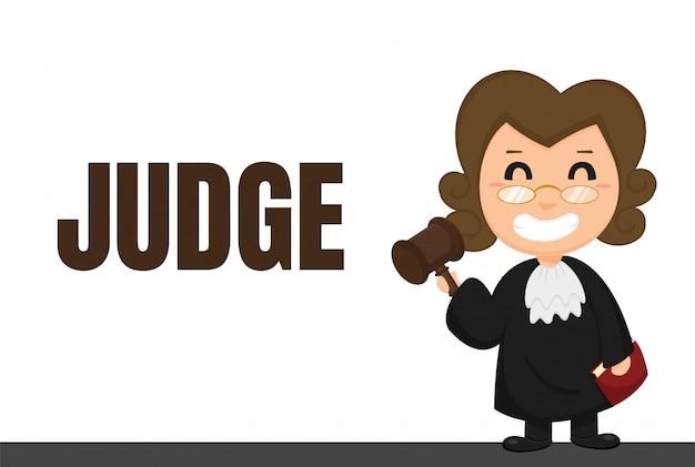 Carrera de dibujos animados jueces o abogados uniformados con decisiones judiciales. Vector Premium
