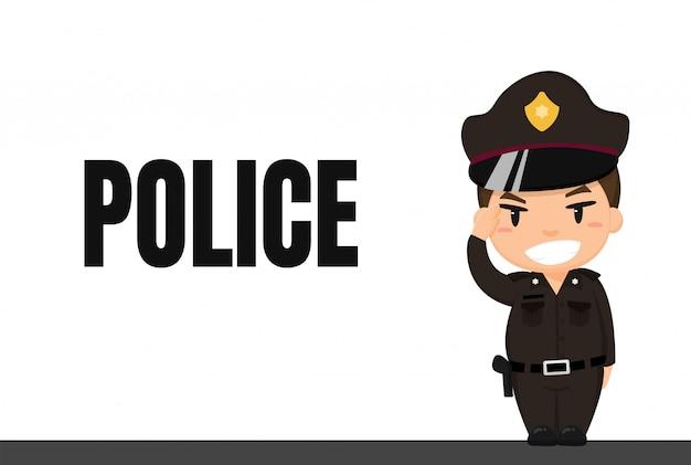 Carrera de dibujos animados policía tailandesa en uniforme con postura de respeto en servicio. Vector Premium