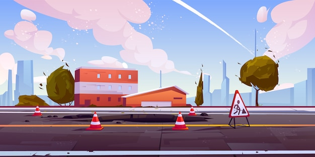 Carretera en construcción vista a la calle del paisaje urbano vector gratuito