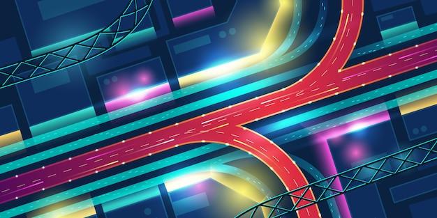 Carretera de intercambio de transporte en vista superior de la ciudad de neón de noche vector gratuito
