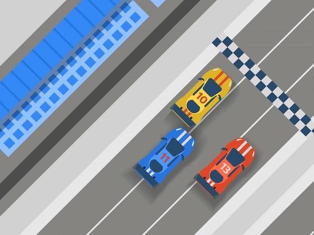 Carretera pista carretera, coche deporte ilustración. transporte carretera vía elementos de diseño vista superior constructor para vehículo. Vector Premium