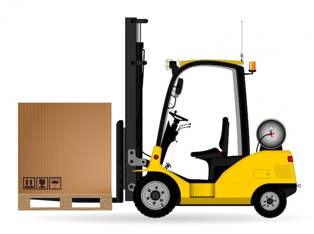 Carretilla elevadora de almacén amarilla con una caja de cartón en el palet. vista lateral. almacén, entrega y transporte de mercadería. vista lateral. Vector Premium