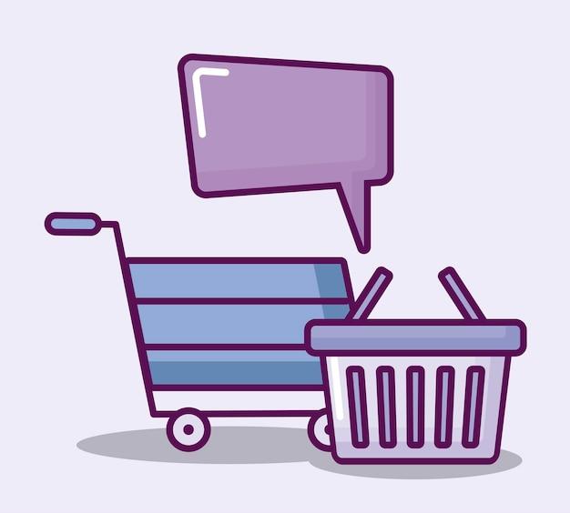 Carrito y cesta de compras e iconos de finanzas. vector gratuito