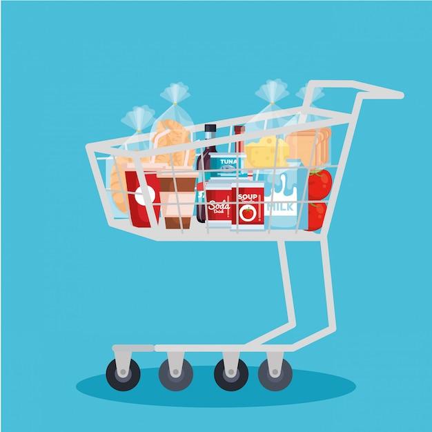 Carrito de compras con productos. vector gratuito
