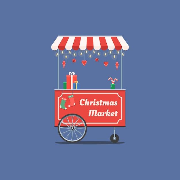 Carrito navideño con guirnalda Vector Premium