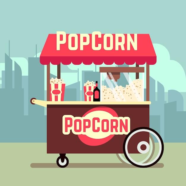Carrito de venta de comida callejera con máquina de palomitas de maíz. vector kiosco móvil con palomitas de maíz, ilustración troll Vector Premium