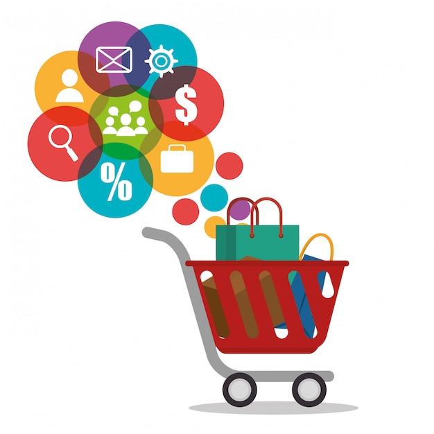 Carro de compras con iconos de comercio electrónico vector gratuito