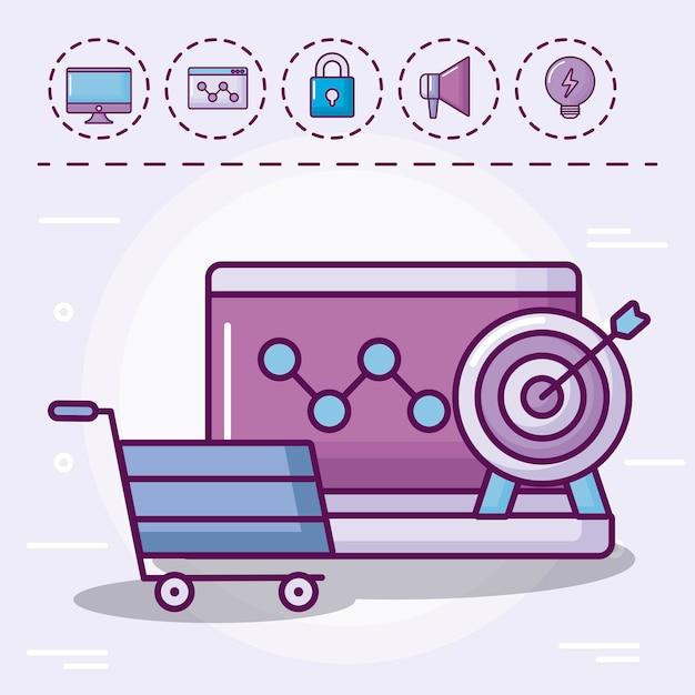 Carro de compras con iconos conjunto vector gratuito