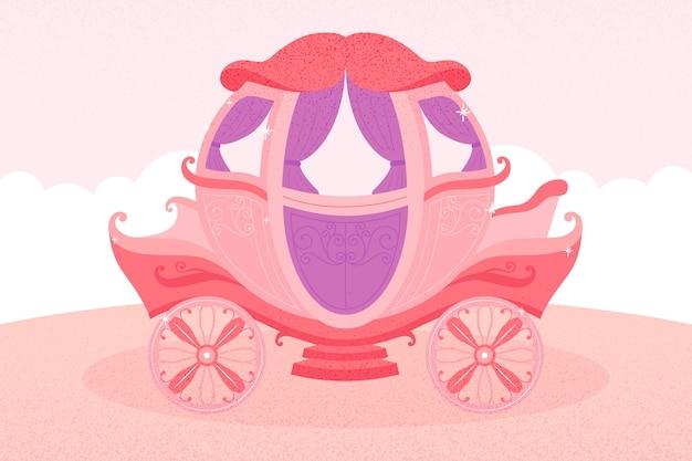Carro de cuento de hadas en tonos rosa y violeta vector gratuito