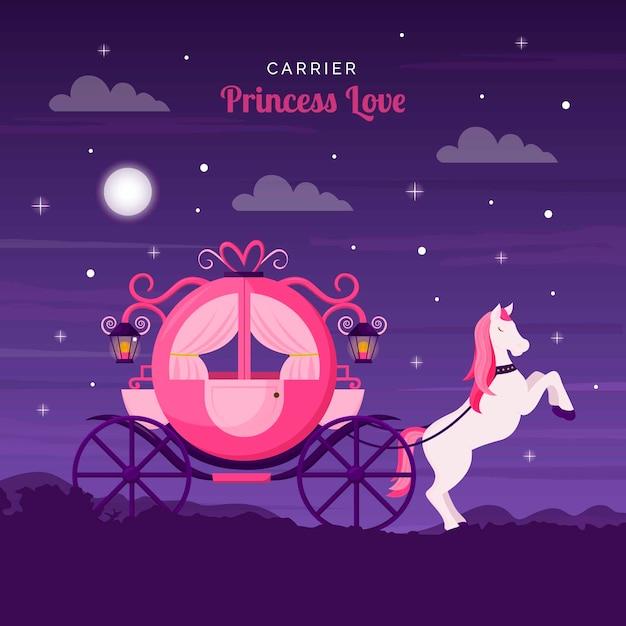 Carro de princesa de cuento de hadas Vector Premium