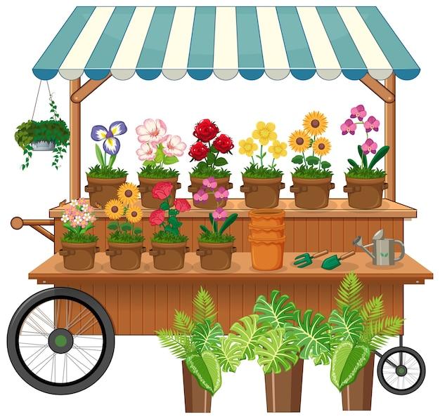 Carro de vendedor de flores aisladas vector gratuito