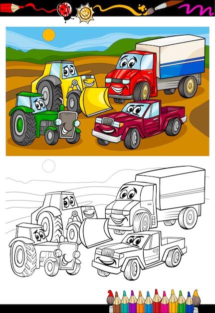 Carros De Dibujos Animados Y Camiones Para Colorear Libro Vector Premium