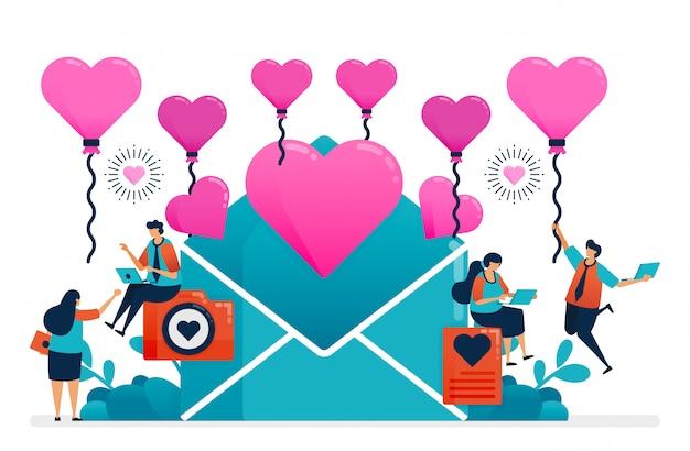 Carta de amor para pareja en el día de san valentín, boda, compromiso. globo de corazón rosa. Vector Premium