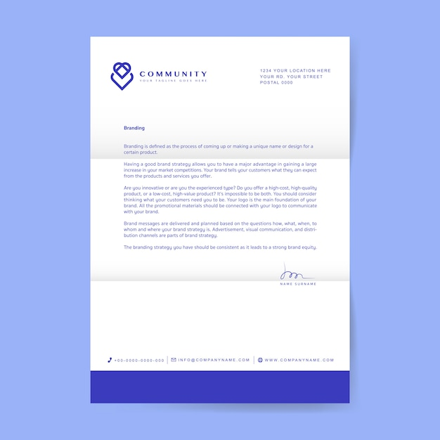 Carta comercial con logo. vector gratuito