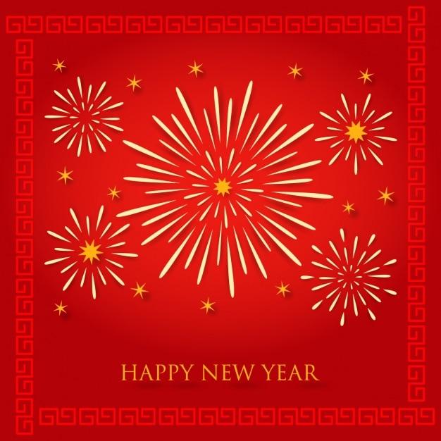 Carta De Feliz Año Nuevo Con Fuegos Artificiales Descargar