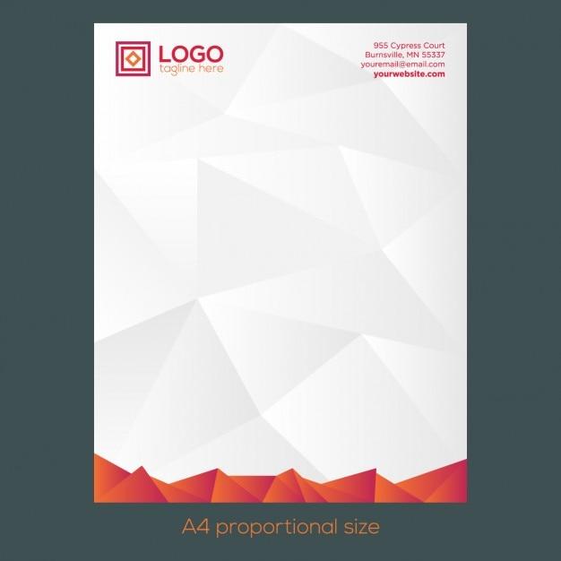 Carta con membrete poligonal naranja vector gratuito