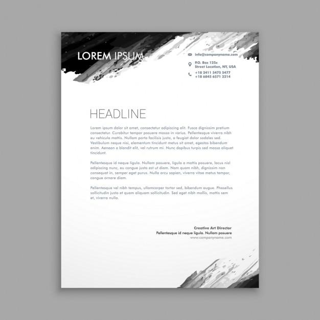Carta con membrete con tinta negra vector gratuito
