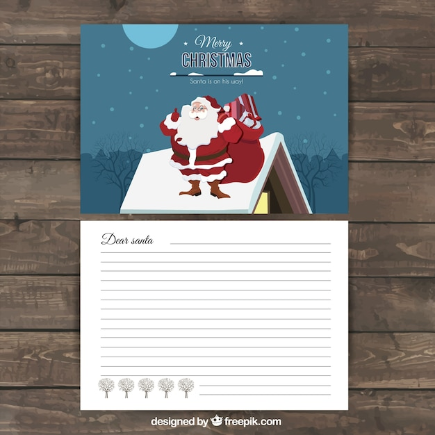 carta navidea con pap noel en el tejado vector gratis