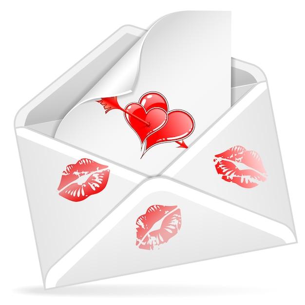 Carta y sobre del día de san valentín Vector Premium