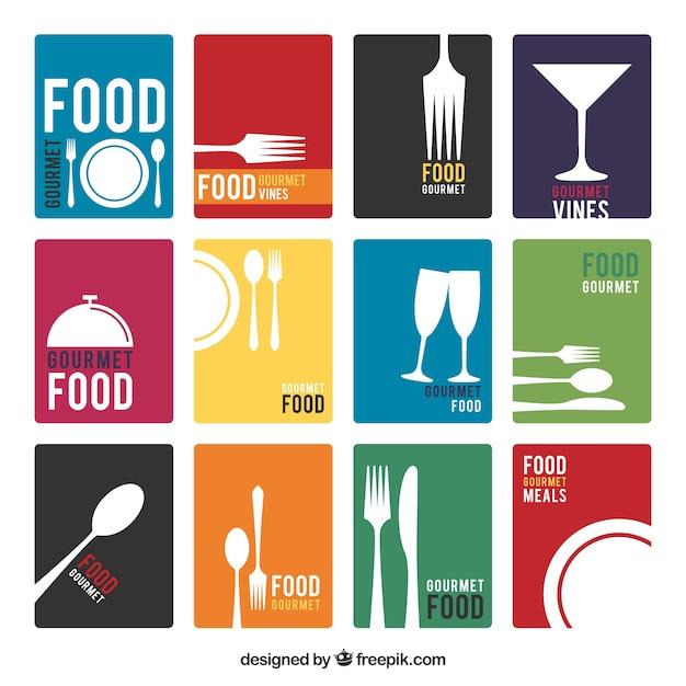 Cartas de menú minimalistas Vector Premium