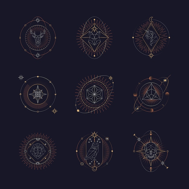 Cartas del tarot de símbolos astrológicos geométricos vector gratuito